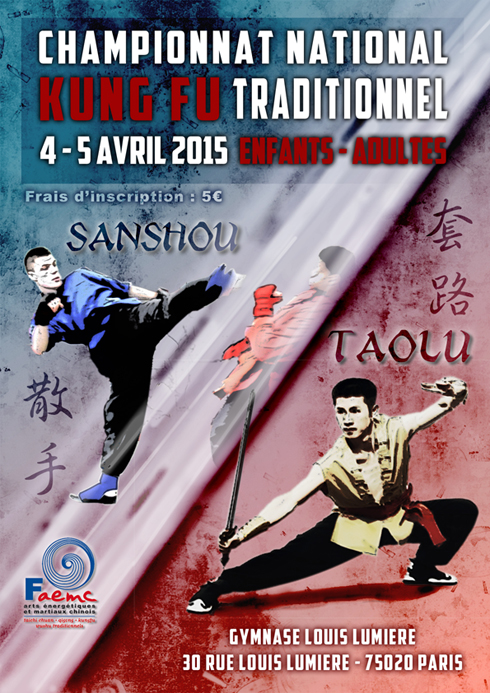 Championnat kunfu traditionnel - taolu sanshou 4-5 avril 2015